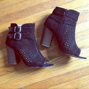 Black Heeled Peep-Toe Ankle Bootie - Sz 6.5